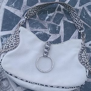 Blue Elegance Leather Snake and Rhinestone Bag
